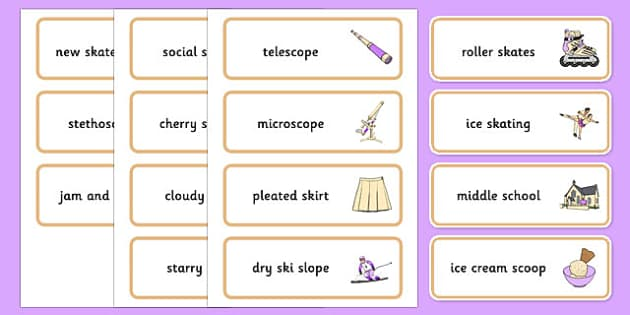 Premise Indicator Words: Word Medial SC SK Word Cards Three Syllable Words
