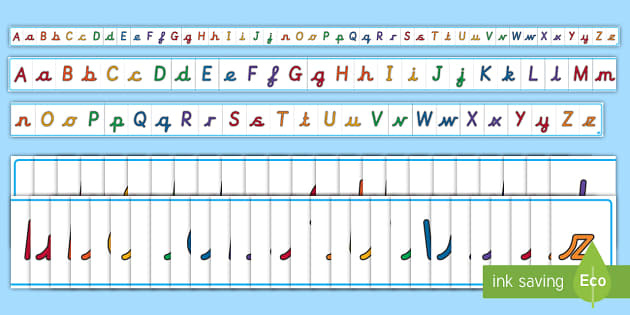 A4 Cursive Uppercase And Lowercase Display Alphabet Line Display