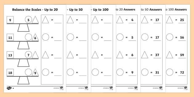 balance the scale differentiated worksheet activity sheets. Black Bedroom Furniture Sets. Home Design Ideas