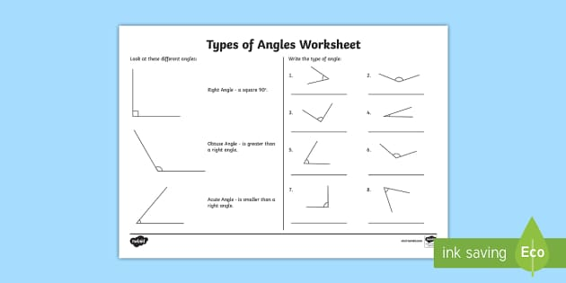 Acute and Obtuse Angles Worksheet Types of Angles Activities – Identify Angles Worksheet