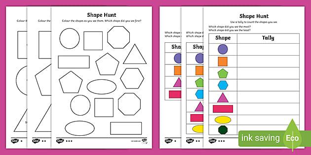 Similar Shapes - Shape Hunt Worksheet (teacher made)