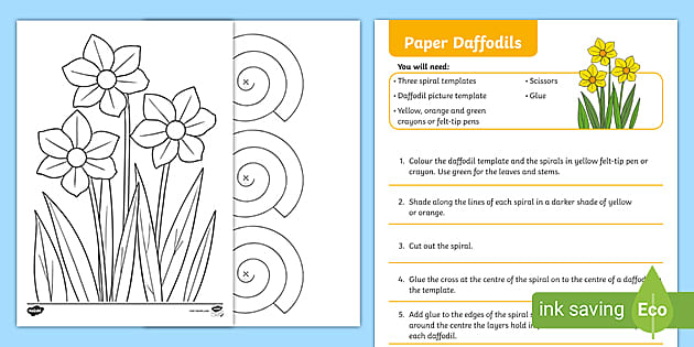 Paper Daffodils Spring Arts And Crafts Ks1 Activity