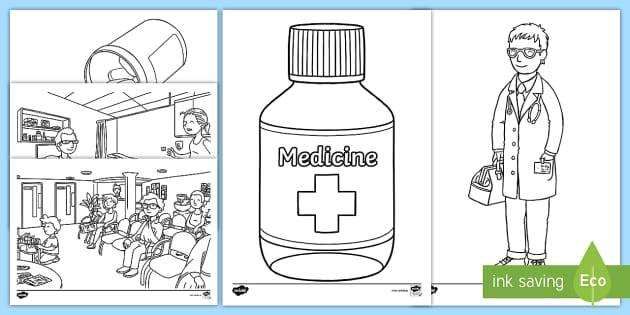 Free The Doctors Surgery Aistear Colouring Pages