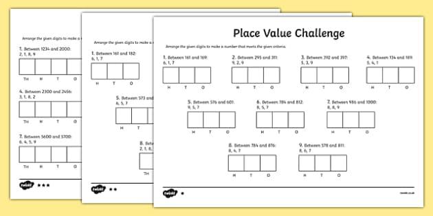 place value challenge worksheet activity sheet place value. Black Bedroom Furniture Sets. Home Design Ideas