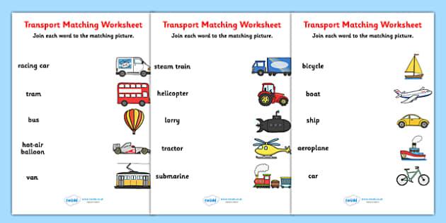 transport word and picture matching worksheet transport match. Black Bedroom Furniture Sets. Home Design Ideas