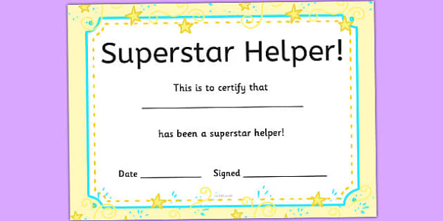 Superstar Helpers Certificates - display, rewards, celebration