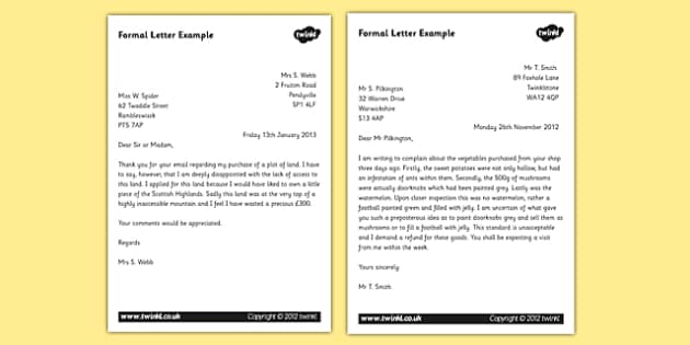formal letter examples ks2 formal writing example texts