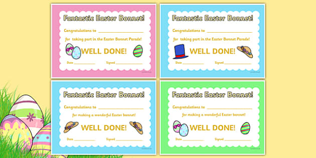 Easter Bonnet Reward Certificates - Easter bonnet award ...