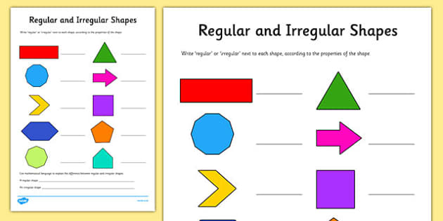 Regular And Irregular Shapes Worksheet