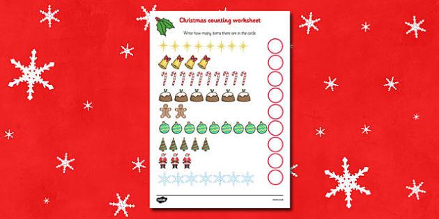 Counting At Christmas Worksheet / Activity Sheet