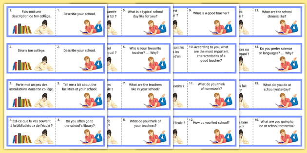Life at School/College Question Cards French - Conversation, Speaking