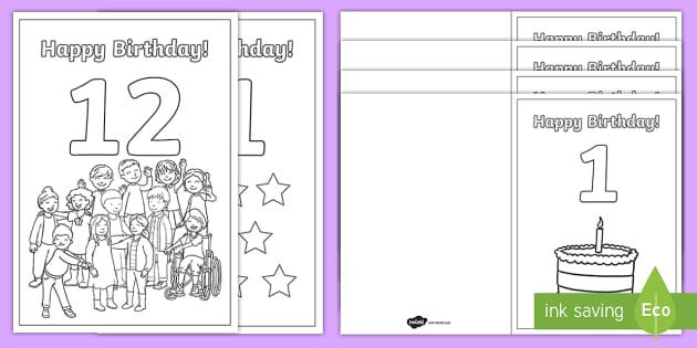 coloring birthday cards ages 1 to 12 teacher made coloring birthday cards ages 1 to 12