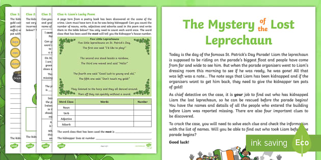 The Mystery Of The Lost Leprechaun St Patrick S Day SPaG