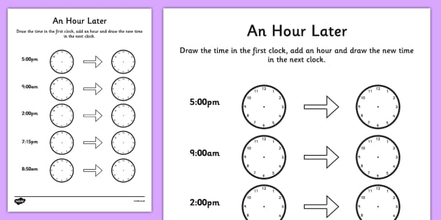 an hour later worksheet time worksheet analogue clock worksheet clock. Black Bedroom Furniture Sets. Home Design Ideas