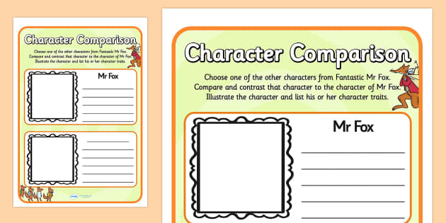 Fantastic Mr Fox Character Comparison Worksheets fantastic mr – Comparison Shopping Worksheets