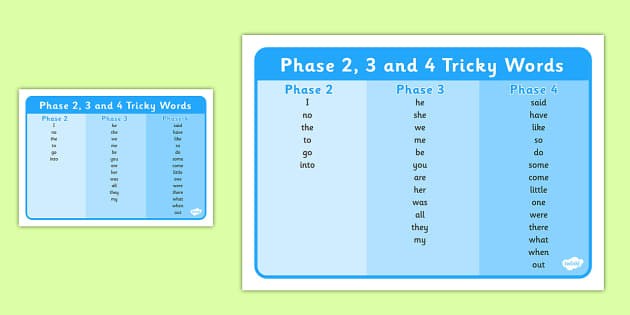 Phase 2 3 And 4 Tricky Words Word Mat Phase 2 To 5 Tricky