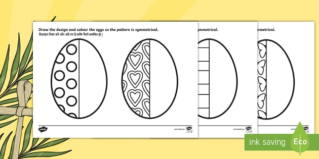 Easter Egg Symmetry Activity Sheets English Hindi