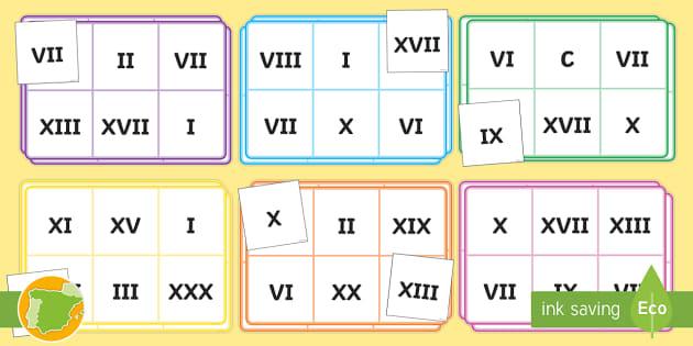 Bingo Los Números Romanos Numeración Romana Juego Actividad