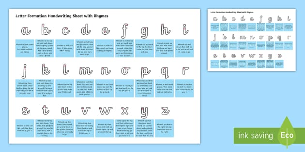Cursive Letter Formation Handwriting Sheet with Rhymes - letter