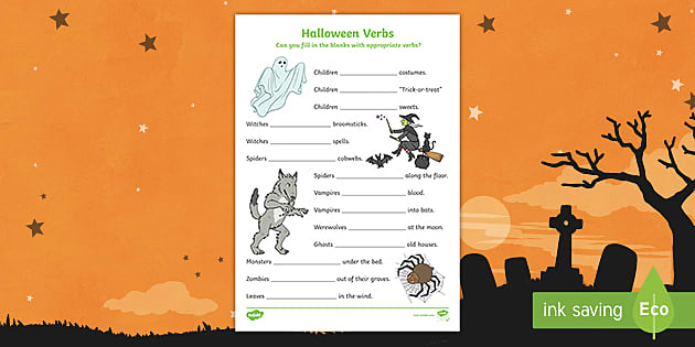 Halloween Verbs Worksheet Activity Sheets Halloween Verbs Worksheets