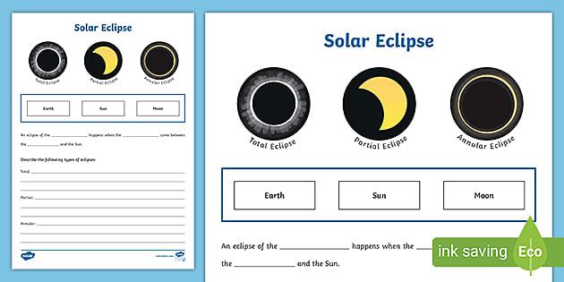 Kindergarten Solar Eclipse Worksheet