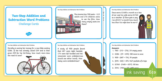 Two Step Subtraction Word Problems Subtraction Word