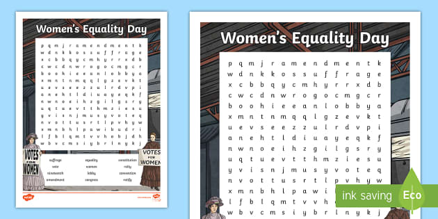 new women s equality day word search women s rights civil rights