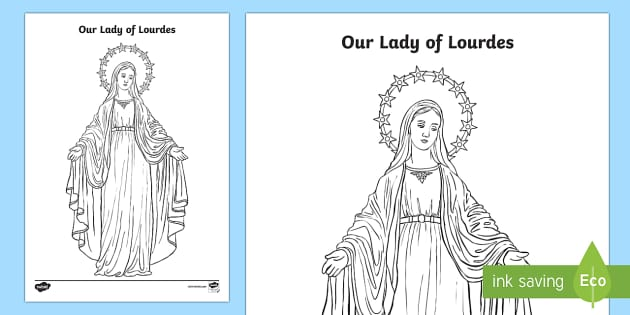 our lady of lourdes colouring worksheet activity sheet our