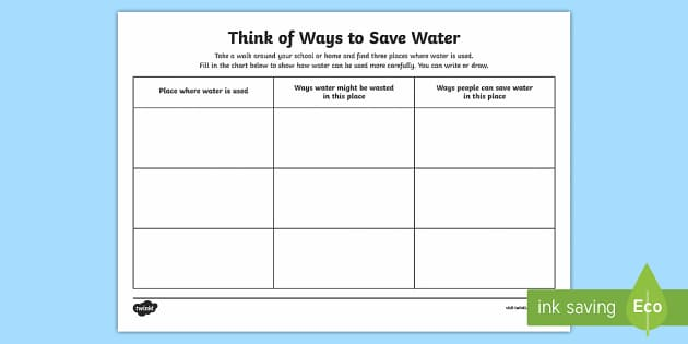 ways to save water worksheet    activity sheet