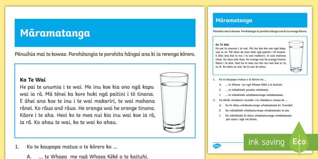 Water Reading Comprehension Activity Sheet Te Reo Māori