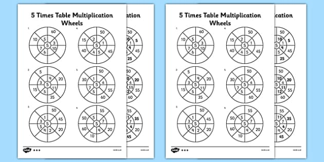 5 times table multiplication wheels worksheet activity sheet ibookread PDF