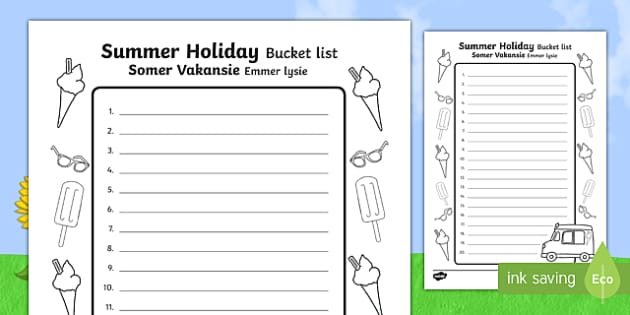 Summer Holiday Bucket List English Afrikaans