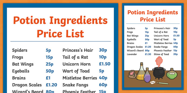 Magic Potion Ingredients Price List Magic Potion Ingredients