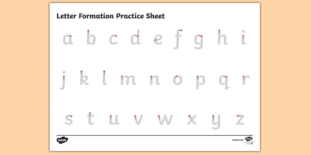 abc letter formation alphabet handwriting practice sheet lowercase. Black Bedroom Furniture Sets. Home Design Ideas