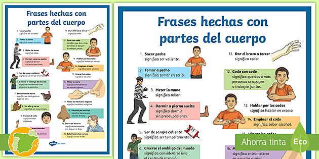 Póster Frases Hechas Con Partes Del Cuerpo Teacher Made