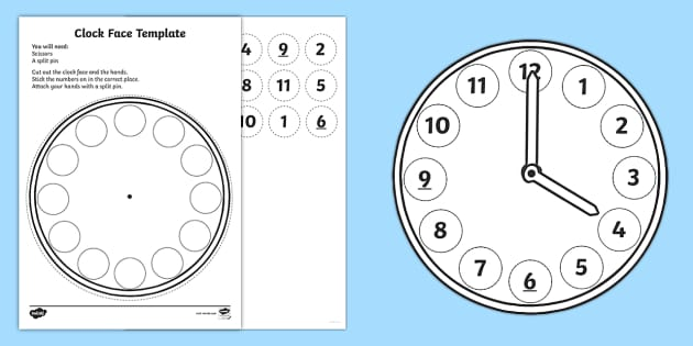 Paper Plate Clock Template from images.twinkl.co.uk
