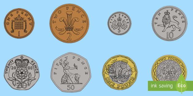 A4 British Coin Cut Outs A4 British Coins British