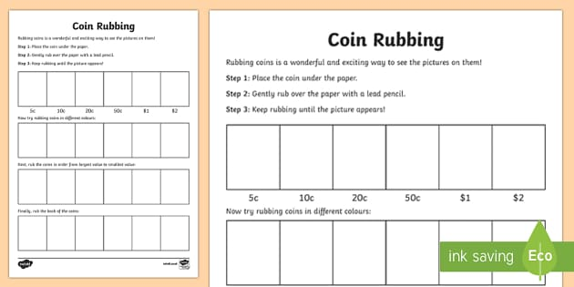 coin rubbing worksheet