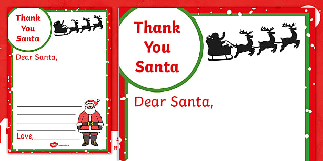 Thank You Letter For Santa Writing Frame Teacher Made