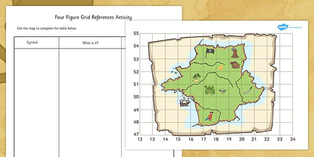 pirate treasure four figure grid map maps pirates gold. Black Bedroom Furniture Sets. Home Design Ideas