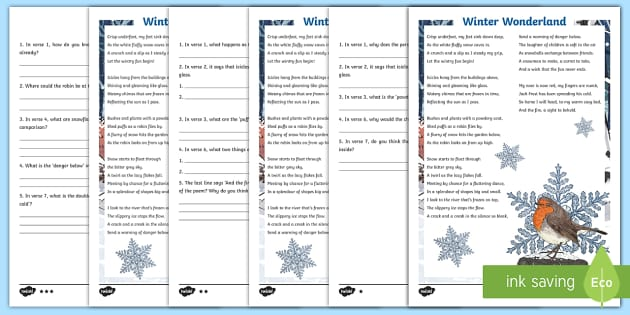 ks2 winter wonderland poem differentiated worksheet activity sheets. Black Bedroom Furniture Sets. Home Design Ideas
