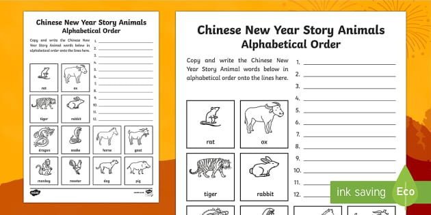 chinese new year story animals alphabet ordering worksheet. Black Bedroom Furniture Sets. Home Design Ideas