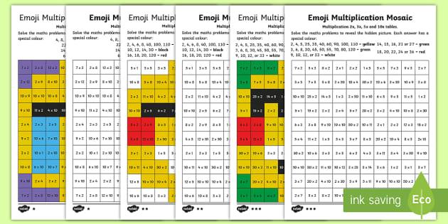 Ks1 Emoji Multiplication Mosaic Differentiated Worksheet Rhtwinklcouk: Emoji Math Coloring Pages At Baymontmadison.com