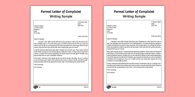 sample of complaints letter