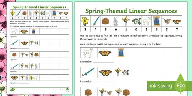 Spring Themed Linear Sequences Worksheet