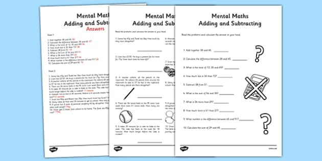 mental maths addition and subtraction worksheet activity sheet. Black Bedroom Furniture Sets. Home Design Ideas