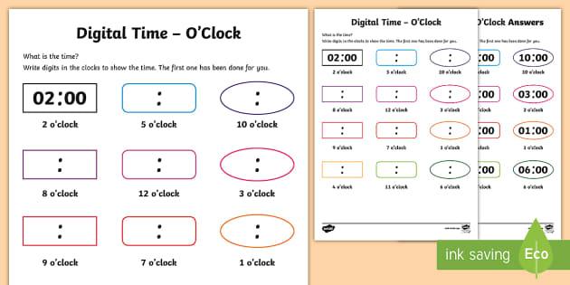digital time o clock worksheet worksheet teacher made. Black Bedroom Furniture Sets. Home Design Ideas