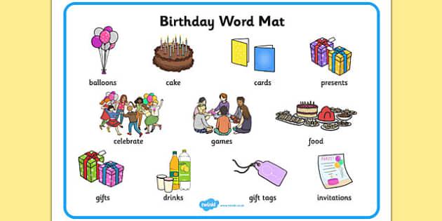 birthday word mat esl birthday vocabulary. Black Bedroom Furniture Sets. Home Design Ideas