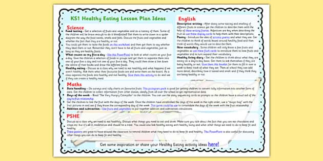 Healthy Eating Lesson Plan Ideas Ks1 Teacher Made