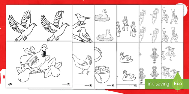 New 12 Days Of Christmas Colouring Pages English Hindi